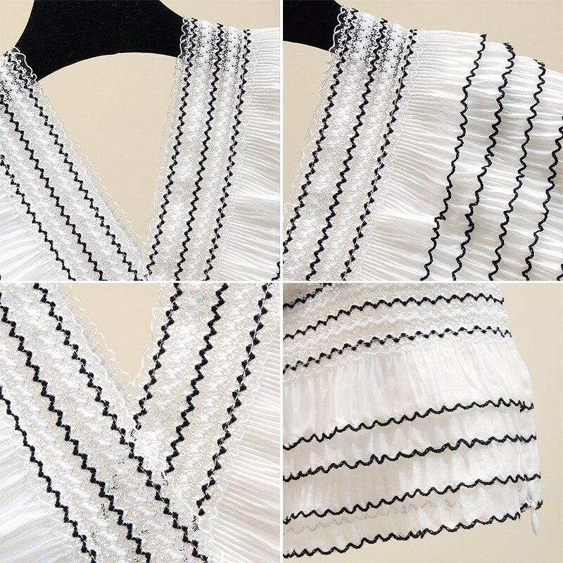 Sexy rayé à volants en mousseline de soie blouse blanc chemise d'été col en v maille patchwork femmes hauts et chemisiers blusas mujer de moda 2019 - 3