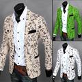 Новый! 2015 необычные небольшой пиджак западного стиля тенденция свободного покроя мужской с длинными рукавами тонкий пиджак бежевый