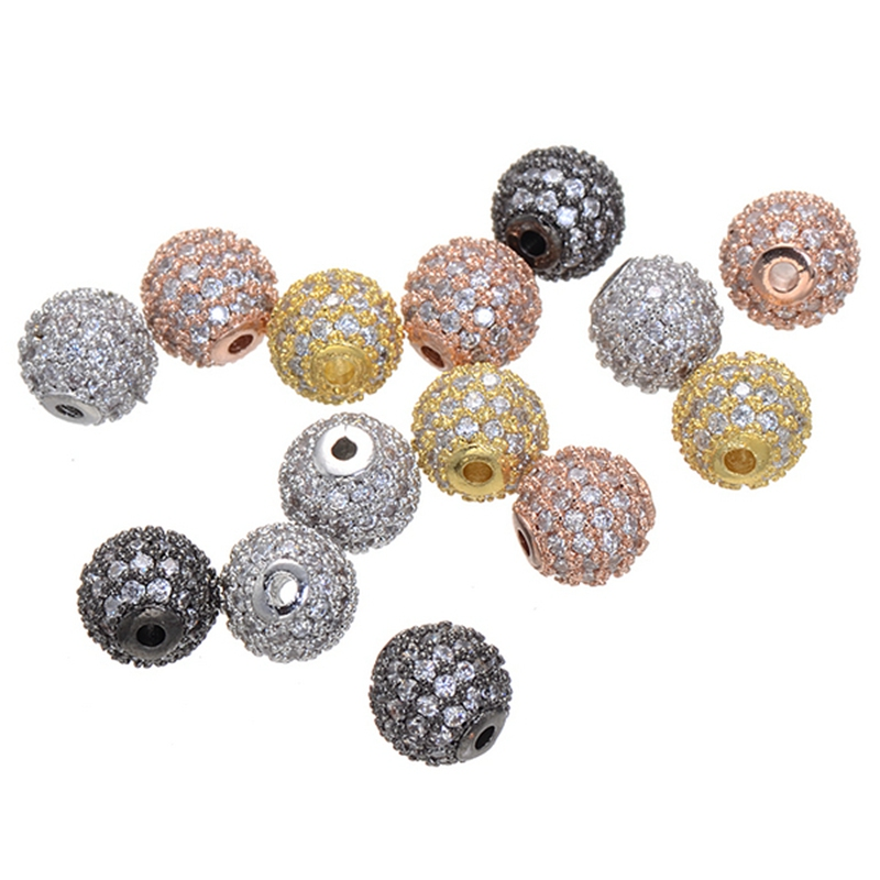 5mm/6mm Cubic Zirconina Pave Disco Micro Round Ball Rhinestones Bracelet Connector Charm Beads Supplies For Jewelry Wholesale