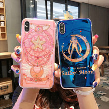 Para iphone XS max XR X bling Luna de marinero de cubierta para iphone 7 7 8 plus 6SP 7 8 6 funda con brillo supura con dibujos bonitos de 6 S(China)