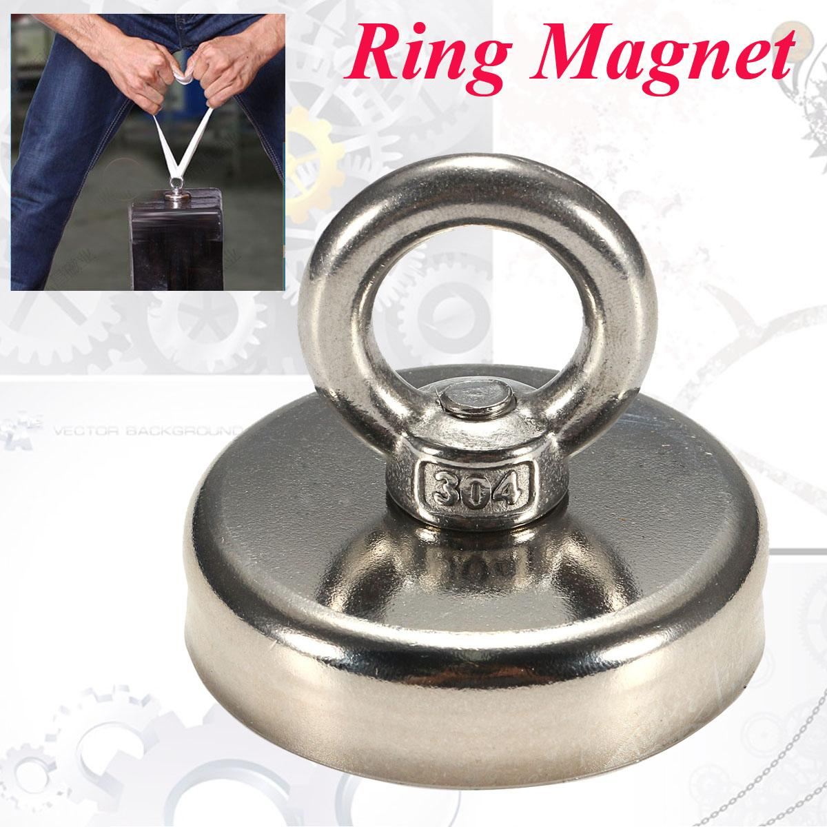 1Pcs 112KG 60mmx50mm Hunting Recovery Salvage Neodymium Detector Eyebolt Ring Magnet Powerful Permanent Magnetic 1piece 164kg magnetic pull force neodymium recovery fishing detecting magnet pot with a eyebolt antenna magnetic mounting base
