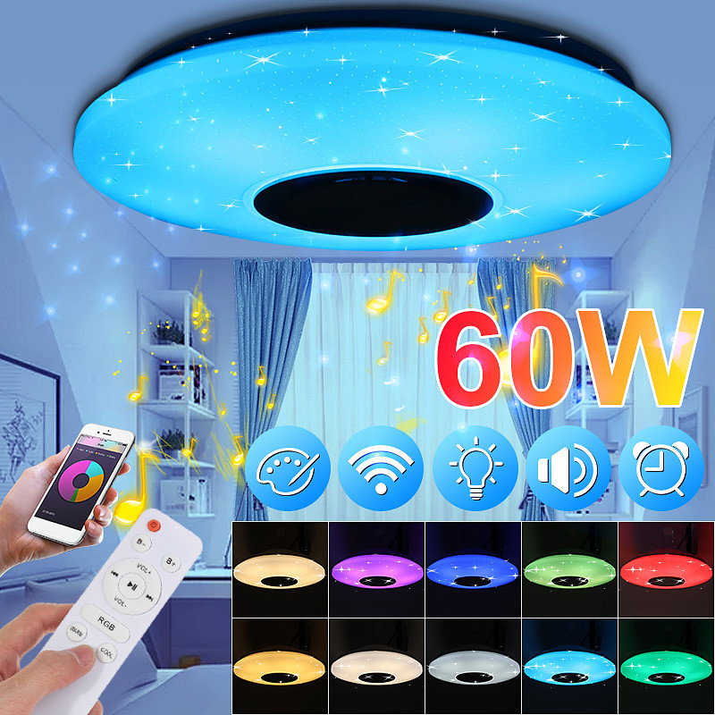 Modern Music Ceiling Lamp Dimmable APP/Remote Control 60W 180-240V Living Room Bedroom Bluetooth Speaker Lighting Lampara Techo