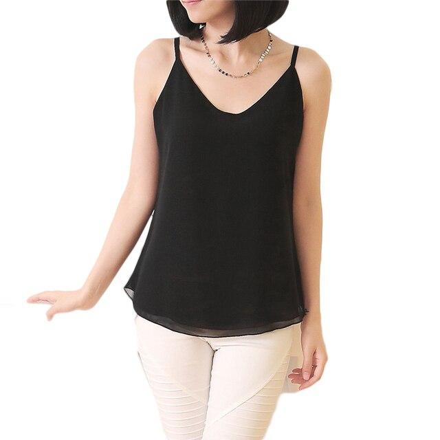 V шеи без рукавов шифон топы женщин белый плюс размер спагетти ремень топы дамы черный летние случайные looaw рубашки