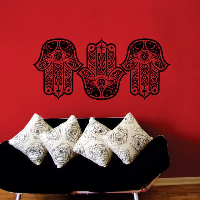 Three Hamsa Hands Wall Stickers Living Room Art Fatima Mandala Home Decor