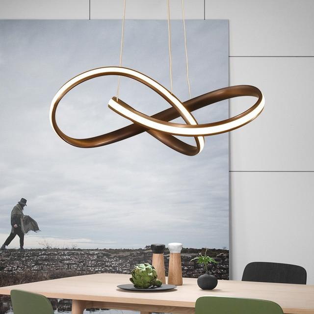 Black or White Modern Led Hanging Chandelier For Dining Kitchen Room Bar Suspension luminaire Pendant Chandeliers AC85 265V