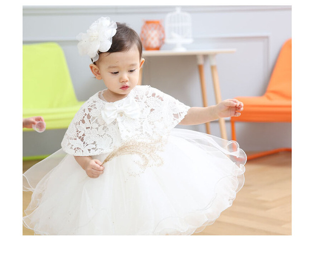 d373a077542a5 US $23.3 50% OFF Latest Set Of One Year Old Baby Girl Baptism Dress  Princess Wedding Vestidos Tutu 2018 Baby Girl Baptism Clothes 3pcs  ABF164701-in ...