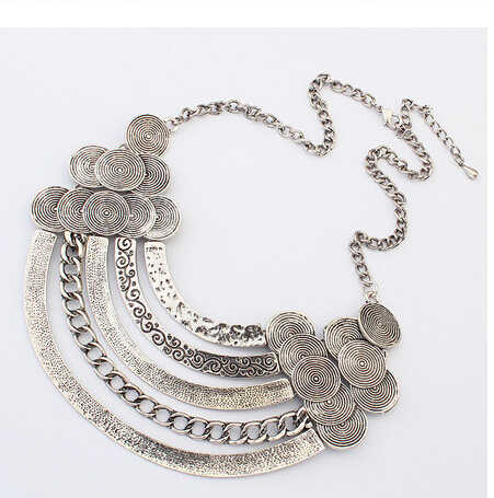 2016 Vintage Ethnic Gypsy Tibetan Big Metal Bib Necklaces Exaggeration Geometric Metal Coin Necklaces & Pendants For Women