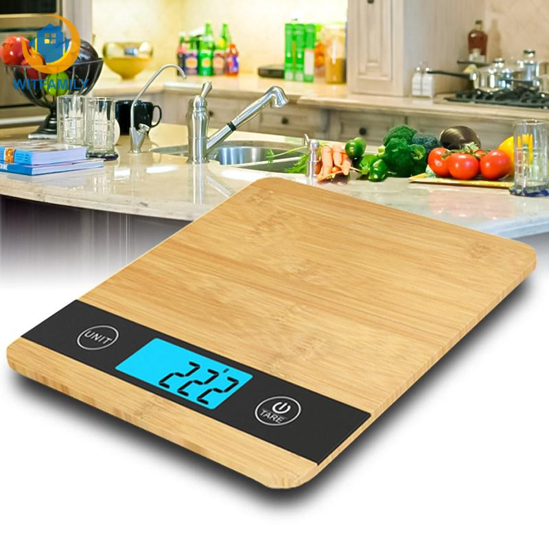 Lcd-Display Digital-Scale Electronic-Balance Wood 5000g/1g Bamboo 5kg Multi-Function