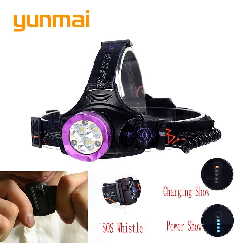 Usb 15000 lumen 6 Led Phare avec SOS Sifflet Rouge Lumière 3 * XML-T6 + 3 Led Tête de La Torche 18650 ou AA Batterie Tête Lampe pour chasse