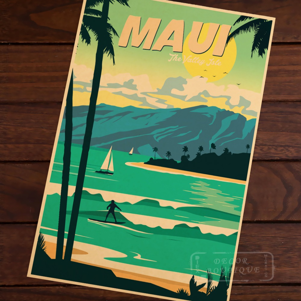 hawaii surf sports surfing sea travel landscape vintage retro poster decorative wall stickers. Black Bedroom Furniture Sets. Home Design Ideas