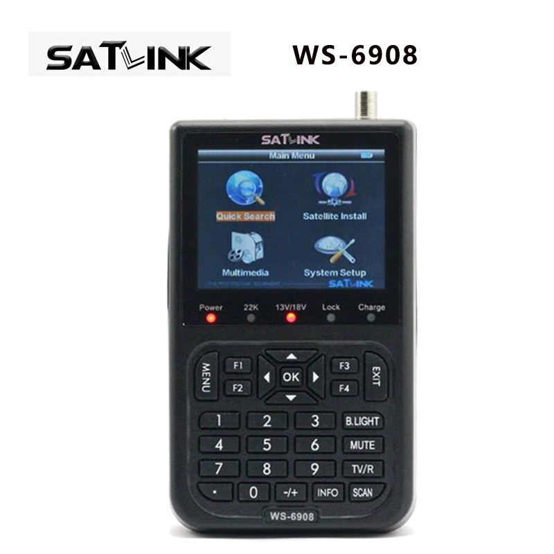 Original Satlink WS-6908 3.5 DVB-S FTA digital satellite meter satellite finder ws 6908 satlink ws6908 free shipping post i box rs232 dvb s satellite smart sharing nagra 3 dongle black