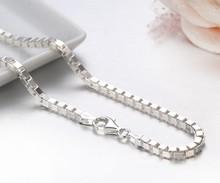 35cm 80cm 3mm gerçek katı saf 925 ayar gümüş kutusu zincir Kolye kadın erkek takı Collier Kolye collares kapalı beyaz Ketting