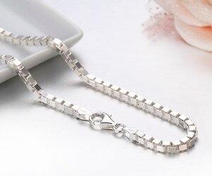 Image 1 - 35cm 80cm 3mm gerçek katı saf 925 ayar gümüş kutusu zincir Kolye kadın erkek takı Collier Kolye collares kapalı beyaz Ketting