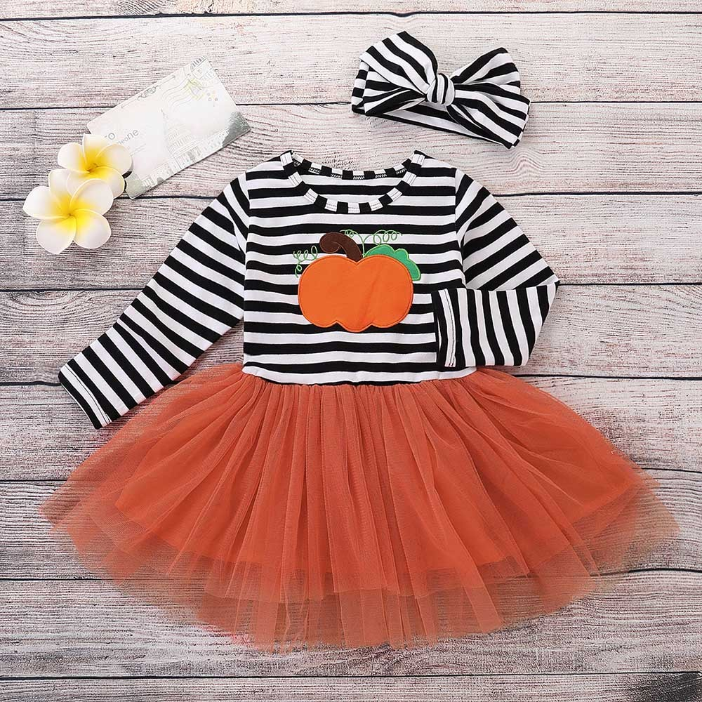 Children's long sleeve Halloween pumpkin print stripe dress + Hair Strap Two Set Baby girl clothes 2018 #YL5 letter and stripe print glitter dress