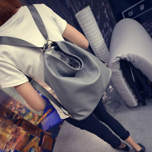 Women grey leather bag backpack female fashion office bag ladies work bag  stylish backpacks for teenage girls mochilas femininas 5cc701986da50