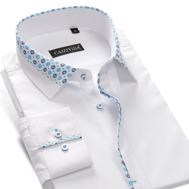 Men's Long-Sleeve Floral Printed Patchwork Dress Shirt Contrast Smart Casual Slim-fit Comfortable 100% Pure Cotton Tops Shirts