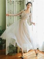 2018 new fashion women's dresses autumn white polka dot dress long sleeve retro elegant sexy swing hem vestidos