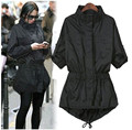 Autumn Long  Black Long Sleeve Pokets Style Ladies Single Breasted Trench Slim Women's Outwear Trench Coat Tops