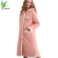New Boutique Women Winter Coral Fleece Robes Three layers Thick Warm Sleep Dress Plus size Hooded Jackets Long style OKXGNZ 1288