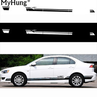 Racing Car Side Skirt Decor Stickers And Decals Diy Modified Vinyl Car Styling For Mitsubishi Lancer