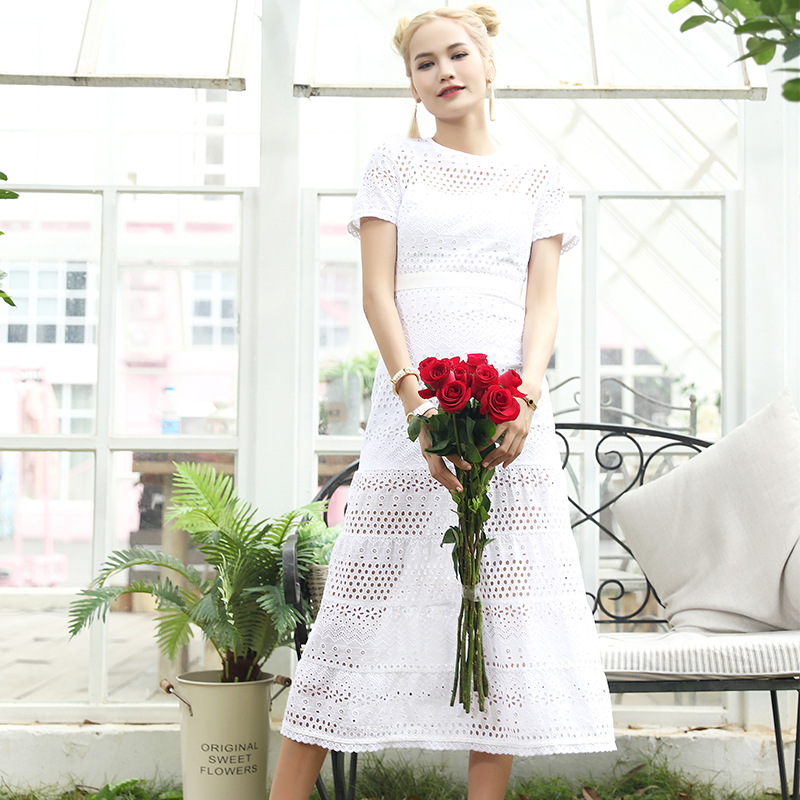 New Female 2017 summer hook flower bud silk dress hollow out word stitching sexy white short-sleeved E0619