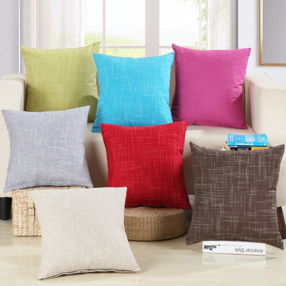 Modern Style Decorative Pillows Solid Plain Red Blue Green Cushion Cover Cotton Linen Square Car ...
