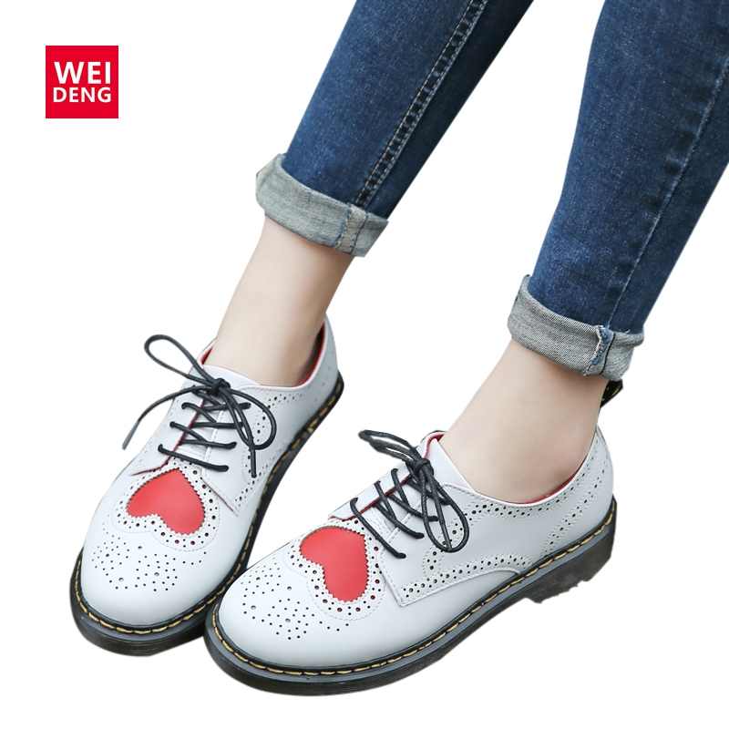 WeiDeng Cute Genuine Leather Oxfords Women boots Brogue Ankle Boot Lace up Classic Casual Low Heels flats Fashion Shoes qmn women crystal embellished natural suede brogue shoes women square toe platform oxfords shoes woman genuine leather flats