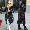 Корейские Девушки Утолщение Длинные Хлопок-мягкие Одежды Ребенок Камуфляж с капюшоном Одежда Дети теплое Пальто Ветрозащитный Открытый Верхняя Одежда YL309