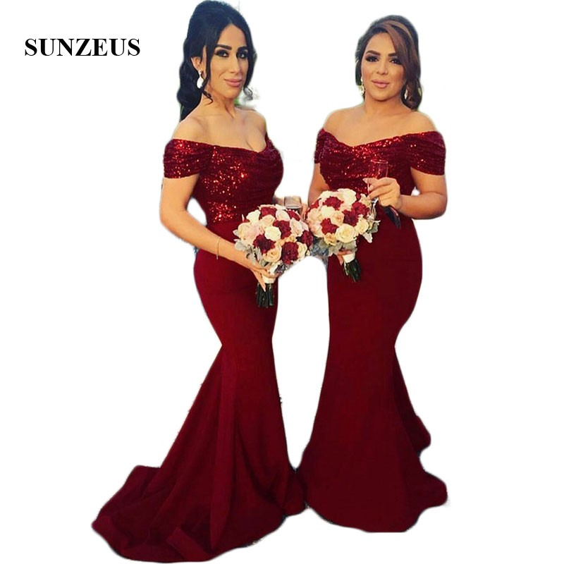 a631ec8cd6 Sweetheart Off Shoulder Formal Dresses for Women Burgundy Sequins  Bridesmaid Dresses Mermaid Jersey Wedding Guest Gowns SBD30