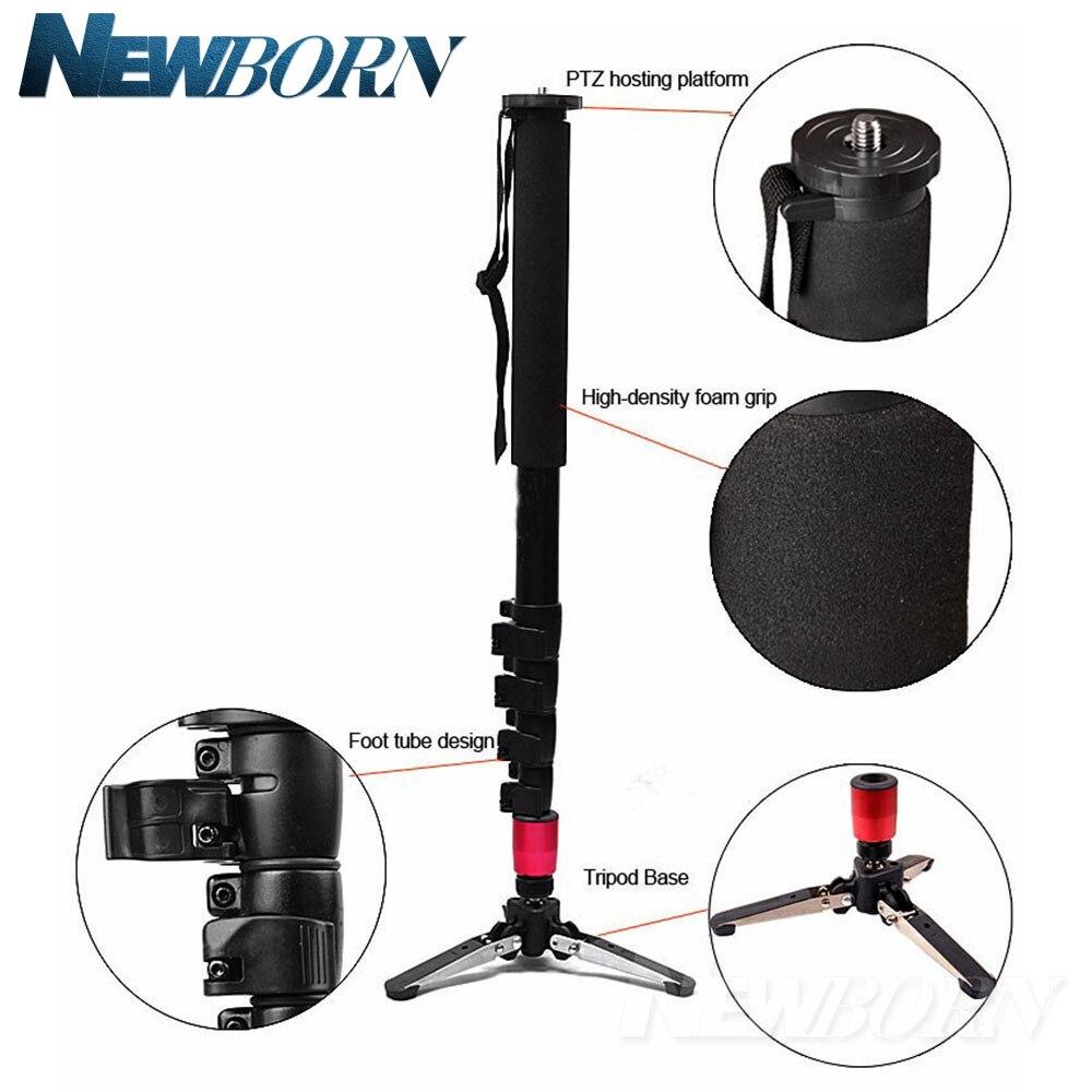 Bouton type Alumninum Alliage Caméra DSLR Monopode Monopode Flip Serrure avec 3 Jambes Base Trépied Pour Canon Nikon Sony Pentax DSLR DV