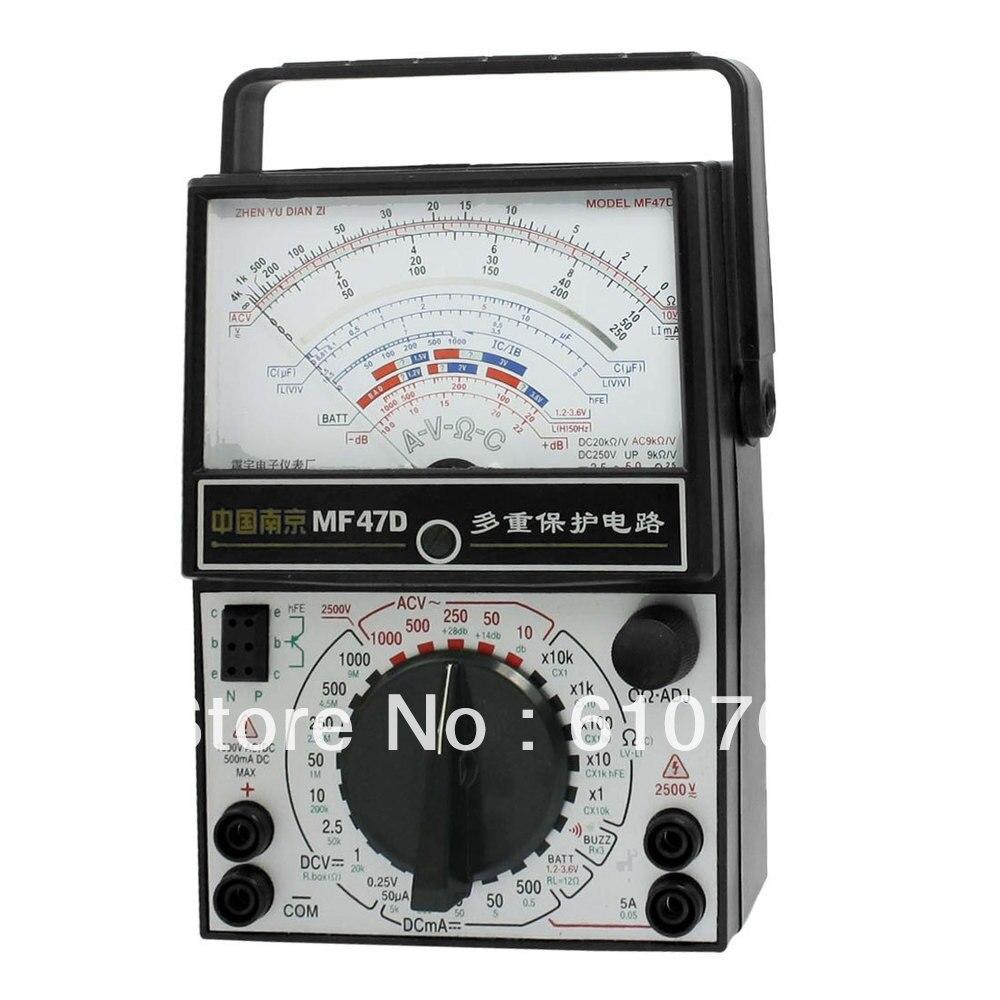 AC DC Voltmeter Ammeter Ohmmeter Analog Multimeter Black White MF47D