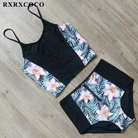 RXRXCOCO Brand High Waisted Bikini Set Sexy Push Up Bikini Padded Swimwear Women Halter Bandage Swimsuit