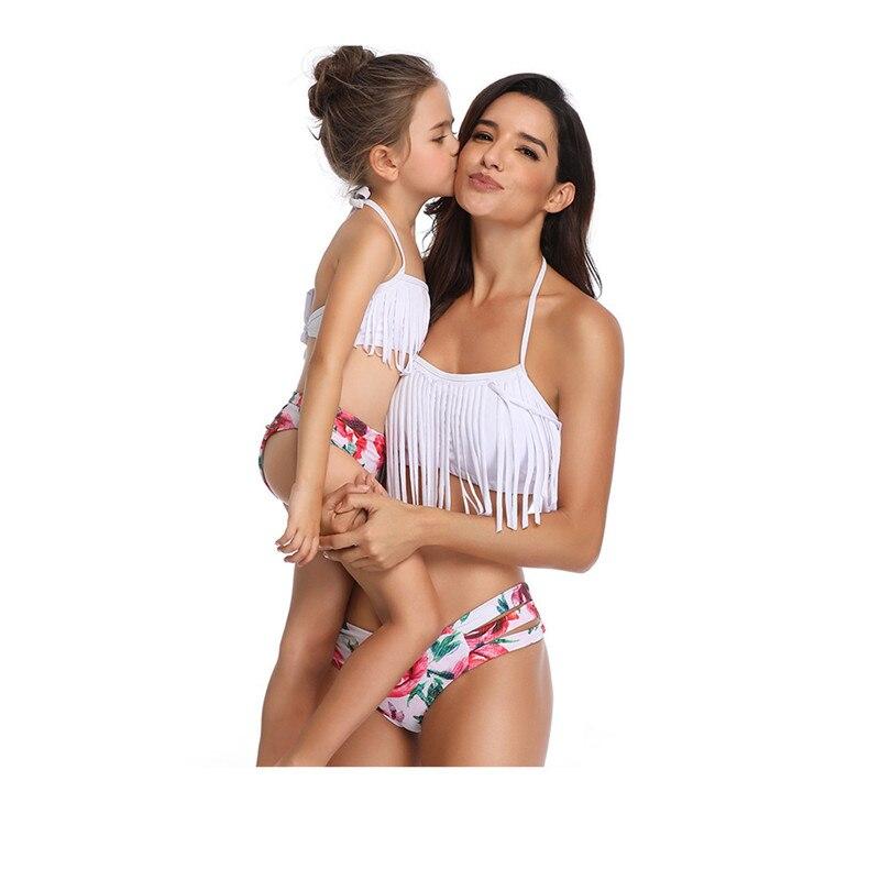 Family Matching Swimwear Mother Daughter Taseel Bikini Bathing Suit Brachwear Swimwear Family Matching Outfits Mom Kids Swimsuit (5)