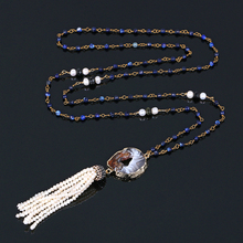 Handmade Pearl Tassel Necklace Small Dark Blue Jade Bead Chain Long Necklaces Lucky Gold Black Agate Pendant For Women