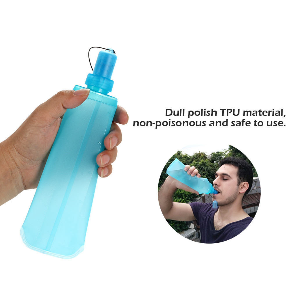 AOTU 500ml Portable Foldable Water Bag Outdoor Cycling Soft Flask Bottle