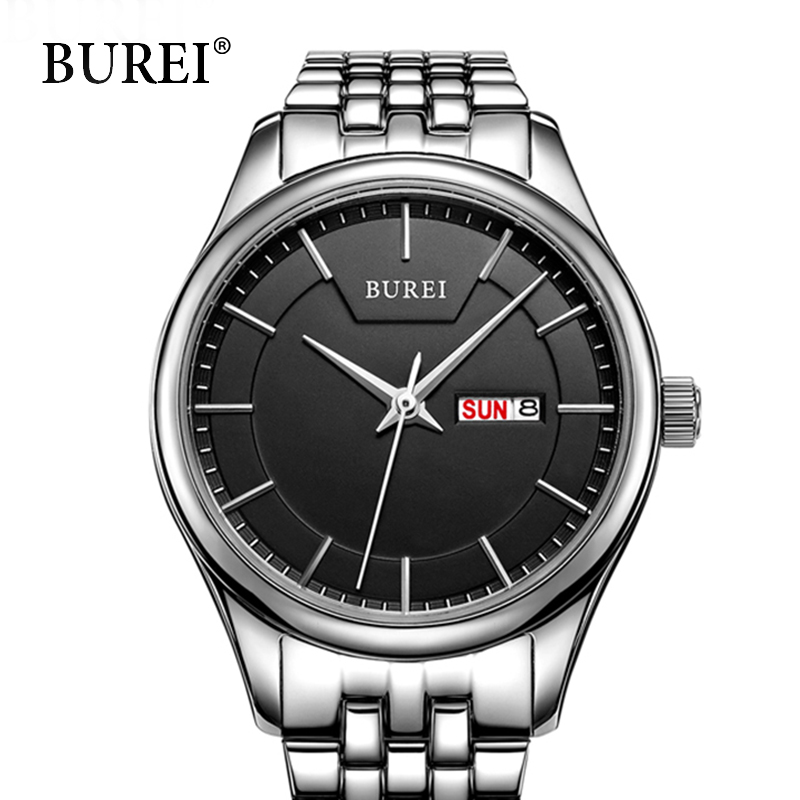 BUREI Mens Business Watches Gold Quartz Wristwatches Top Stainless steel Clocks Male Luxury Black Dial simple Casual Watch gift hand made natural wood mens quartz watch wooden watchband bracelet clasp simple design dial high quality male watches gift