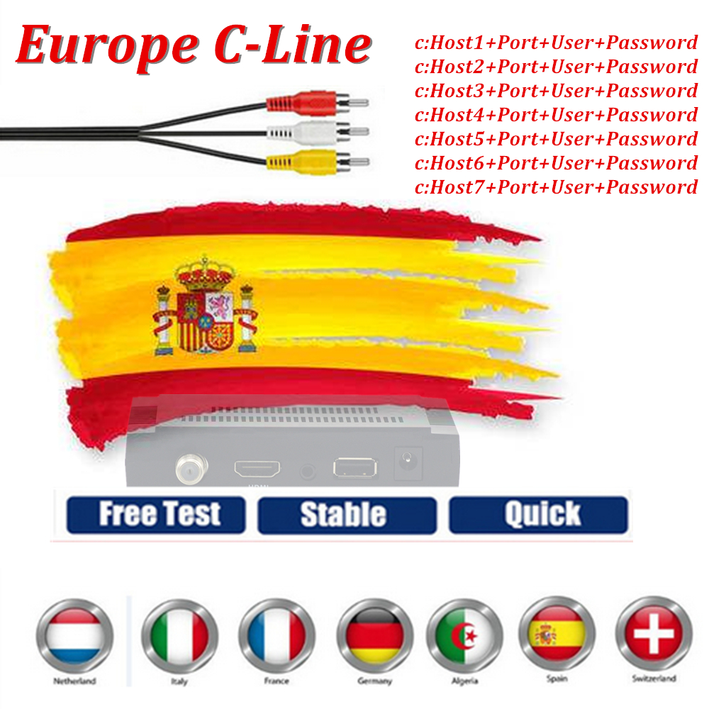 Europe Cccam Cline Server With 1 YearFor Portugal Germany Poland Spain Italy Ect Support DVB-S2 IKS Receptor Satelite Receiver