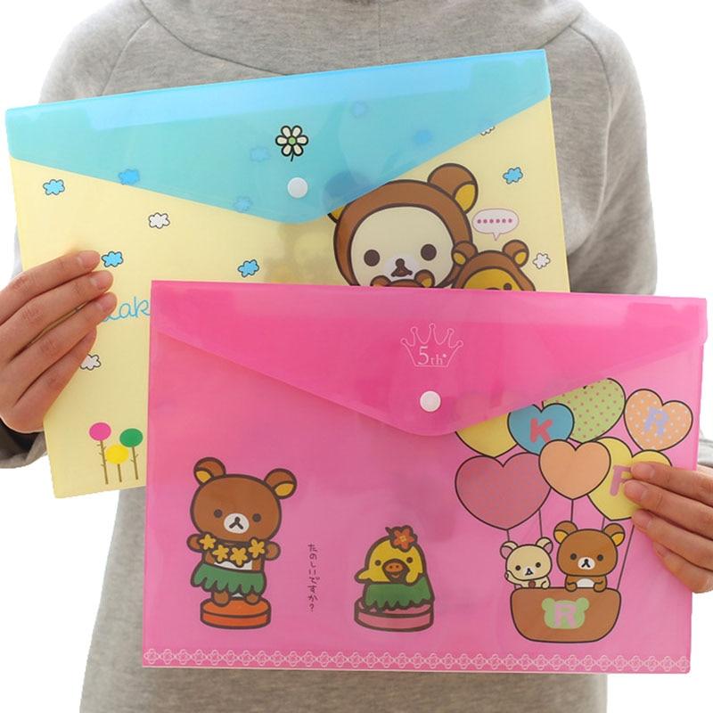 1pcs Random Catoon Bear Document Bag Simple Fashion A4 Storage Bag Creative File Folder Stationery Organizer Office School Tool