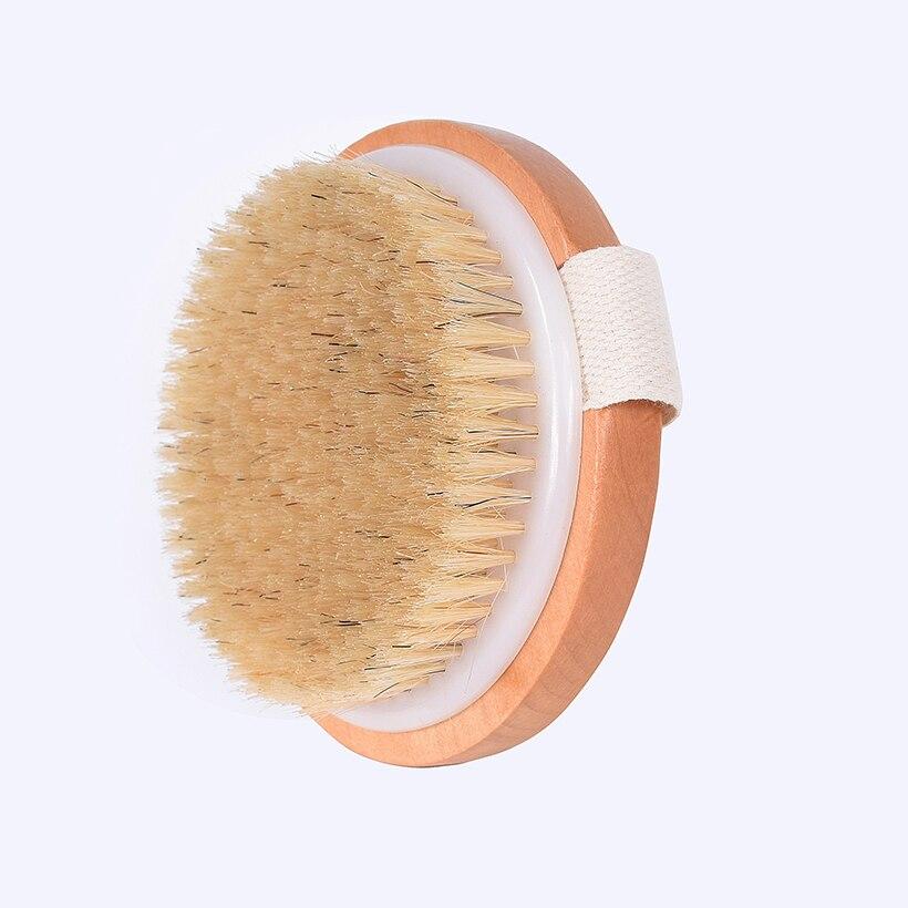 TREESMILE poils naturels brosse de bain corps Maasage sans poignée brosse de bain corps exfoliant SPA peau chaude sèche corps brosse sèche en bois