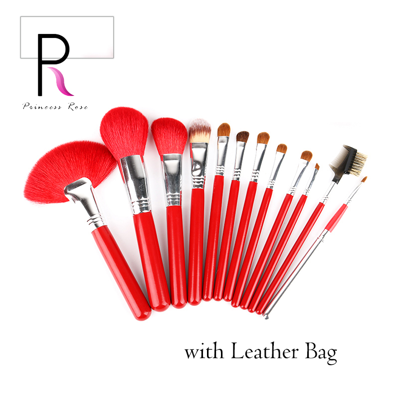 12pcs Makeip Brushes Set Professional Make Up Brush Goat Horse Hair Kit Pinceis Maquiagem Pincel with Leather Makeup Bag msq 15pcs professional makeup brushes set foundation fiber goat hair make up brush kit with pu leather case makeup beauty tool
