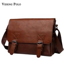 VIDENG POLO Famous Brand Leather Men Bag Casual Business Leather Mens Messenger Bag Vintage Men's Crossbody Bag bolsas male