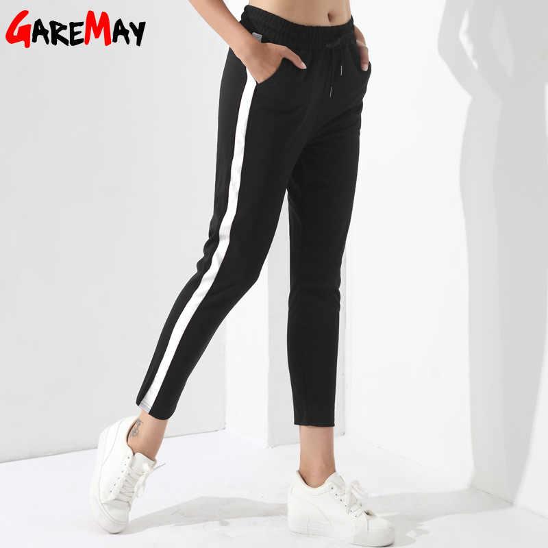 c75413d2 Black Casual Pants Women Harem Striped Pants For Women Pantalon Femme Pantalones  Mujer Cintura Alta Trousers