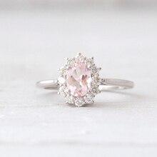 LASAMERO Кольцо Для Женщин 14 К Белое Золото Природный 7×5 мм Овальным вырезом Розовый Morganite Halo Стиль Обручальное кольцо