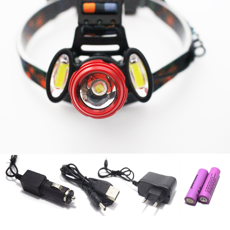 New 3xCREE XM-L T6 LED Headlight 9000Lumens 4 Modes Headlamp Rechargeable Head Torch Flashlight +18650 Battery charger rechargeable 2000lm tactical cree xm l t6 led flashlight 5 modes 2 18650 battery dc car charger power adapter