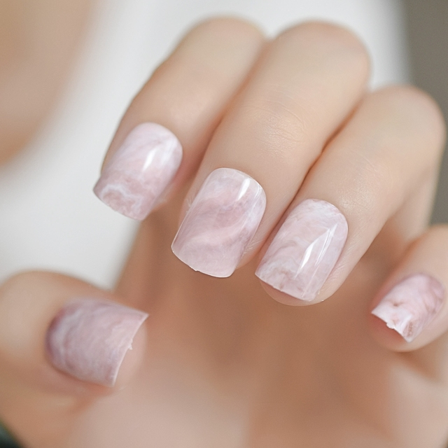Pink Marble Square Fake Nails Glossy Short Stone Pattern Ladies