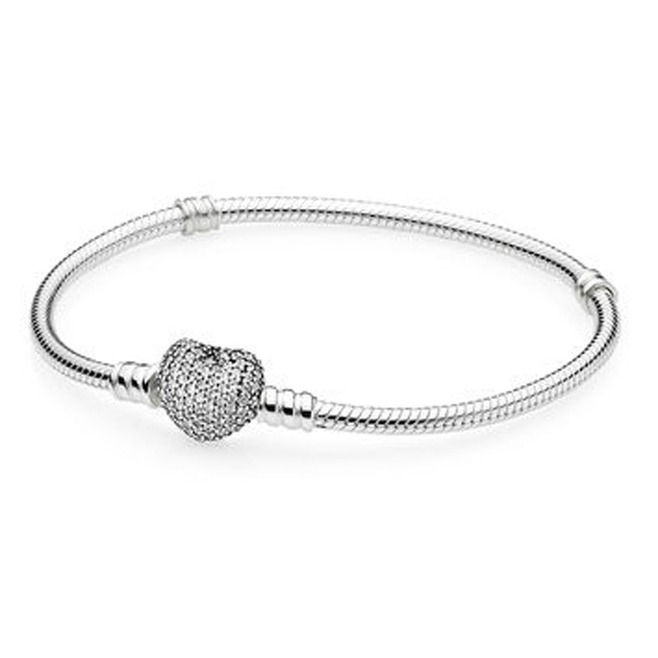 30% Silver Bracelet & Bangle for Women Pave Love Heart Clasp Zircon Cystal fit Lady Bead Charm Pendant
