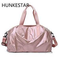 Brilhante yoga esteira saco de fitness sacos ginásio seco molhado tas bolsas para as mulheres sapatos de viagem treinamento do esporte rosa gymtas duffel