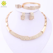 Rhinestone Charm Necklace Earrings Bracelet Ring Women Beauty  Gold Color African Wedding Jewelry Sets