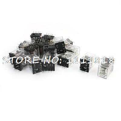 20pcs Green LED Indicator Light DC 24V Power Relay DPDT 2NO 2NC HH52P hh52pl dc 220v coil 8 pins dpdt green led indicator light power relay 5 pcs free shipping