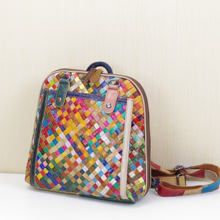 ФОТО Simple backpack women handmade woven school bag casual multi-colored cow leather stripe women backpack bags wholesale